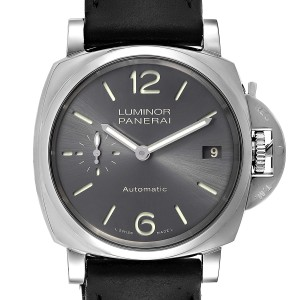 Panerai Luminor Due Grey Dial 3 Days 38mm Mens Watch PAM00755 Box Papers