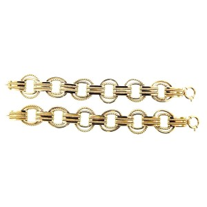 14K Yellow Gold Pair Of Bracelets/Convertable Necklace