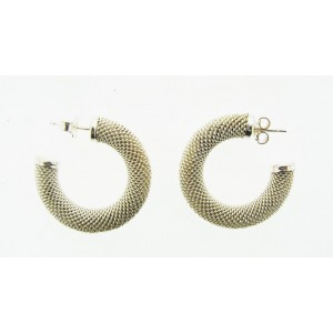 Silver Mesh Hoop Earrings