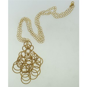 Buccellati Chain Link Necklace 18k Yellow Matte Gold Pendant
