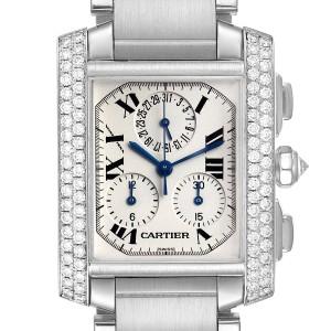 Cartier Tank Francaise Chrongraph White Gold Diamond Mens Watch 2367