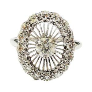 14K White Gold Old Minor Cut Diamond Ring