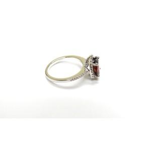 14K White Gold Gem Garnet And Diamond Cocktail Ring