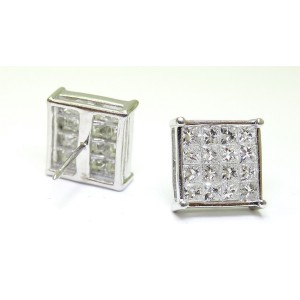 18K White Gold 1.64 ct. Princess Invisible Diamond Earring
