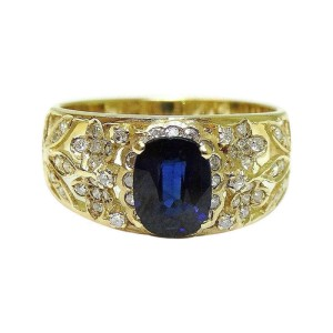 14K Yellow Gold Oval Cut Sapphire And Old Minor Cut Diamond Ring