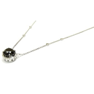 14K White Gold  Black Diamonds Hailo Solitaire Pendant Necklace