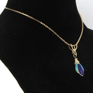 14K Yellow Gold Lapis Turquoise Diamond Pendant Necklace