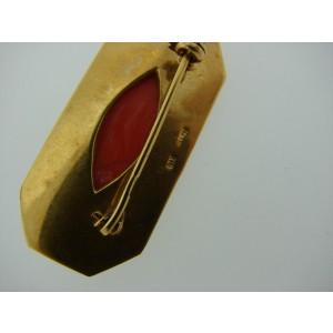 18K Yellow Gold Coral Pin Brooch