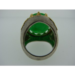Buccellati 18K Yellow Gold 925 Sterling Silver Jade Ring