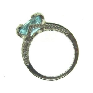 Cathy Waterman Platinum Diamond & Aquamarine Ring