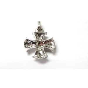 Judith Ripka 18K White Gold Diamond Maltese Cross Haute Pendant Necklace
