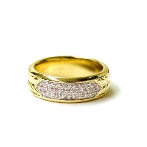 David Yurman 18K Yellow Gold and Diamond Ring Size 10.50