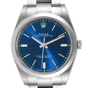 Rolex Oyster Perpetual 39 Blue Dial Steel Mens Watch 114300