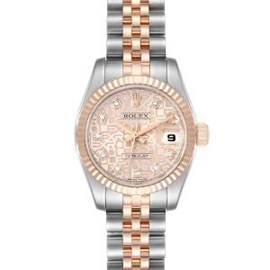 Rolex Datejust EveRose Gold Steel Diamond Ladies Watch 179171 Box Papers