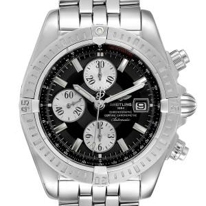 Breitling Chronomat Evolution Steel Black Dial Steel Mens Watch A13356