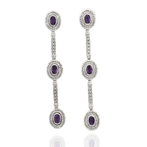 John Hardy Sterling Silver Amethyst, Diamond Earrings