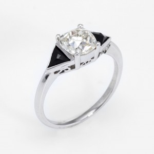 900 Platinum 1.20ct Diamond and 0.50ct Onyx Engagement Vintage Ring Size 5.5