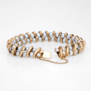 Vintage Lucien Piccard 14K Yellow Gold and Pearl Bracelet