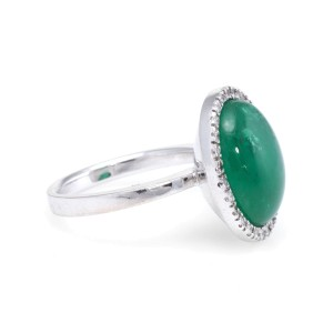 18K White Gold 9.25ct. Emerald and 0.28ctw. Diamond Cocktail Vintage Ring Size 7