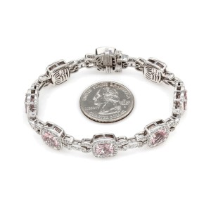 Charles Krypell 18K White Gold 11.27ctw Morganite and 2ctw Diamond Bracelet