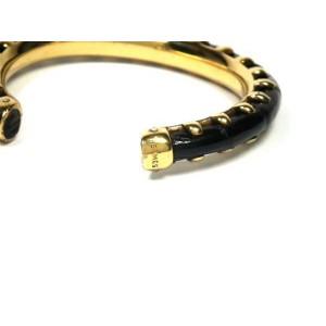 Hermes Crocodile Leather Gold Tone Bangle Bracelet