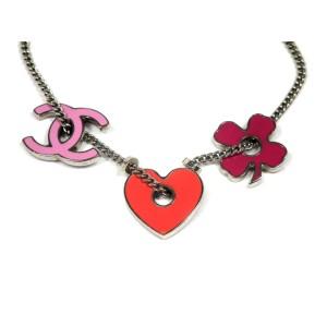 Chanel Coco Silver Tone Heart Bracelet
