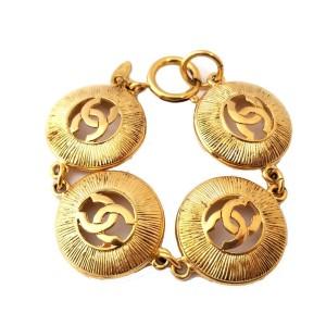 Chanel CC Gold Tone Vintage Bracelet