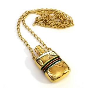 Gucci Gold Tone Perfume Bottle Pendant Necklace