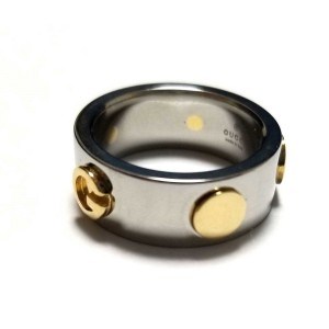 Gucci Stainless Steel & 18K Yellow Gold Ring