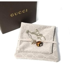 Gucci 925 Sterling Silver Wood Heart Pendant Necklace