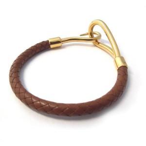 Hermes Jumbo Jet Leather Gold Tone Bracelet