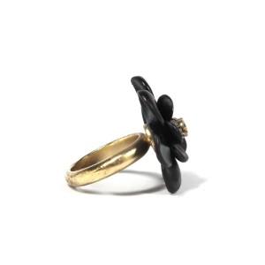 Chanel Camelia Gold Tone Rhinestone Ring Size 6.5