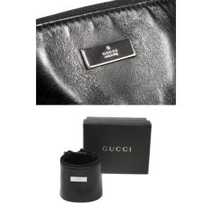 Gucci Leather Silver Tone Wristband Bracelet