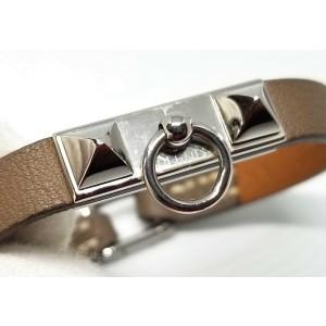 Hermes Leather Silver Tone Bracelet