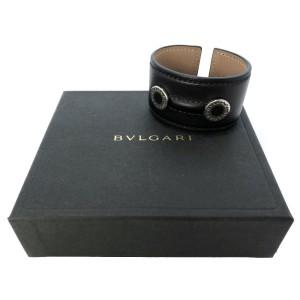 Bulgari Black Leather & Silver Tone Bangle Bracelet