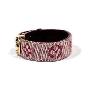 Louis Vuitton Gold Tone Leather Canvas Bracelet