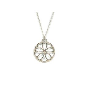 Tiffany & Co. Sterling Silver Diamond Pendant Necklace