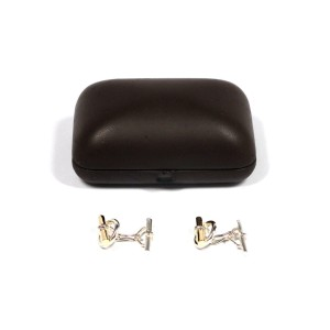 Hermes Chaine Dancre Sterling Silver & 18K Yellow Gold Cufflinks