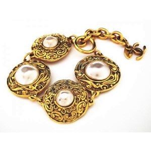 Chanel Gold Tone Metal Glass Simulated Pearl Bracelet