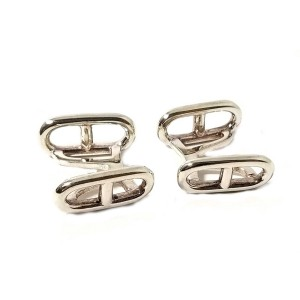 Hermes Chaine d'Ancre Sterling Silver Cufflinks