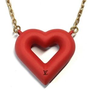 Louis Vuitton Gold Tone Heart Pendant Necklace