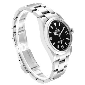 Rolex Explorer I Black Dial Stainless Steel Mens Watch 114270 Box