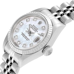 Rolex Datejust Steel White Gold Mother of Pearl Diamond Ladies Watch 79174