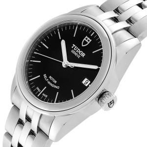 Tudor Glamour Date Black Dial Automatic Steel Mens Watch M55000 Unworn