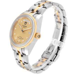 Tudor Glamour Day Date Steel Yellow Gold Diamond Mens Watch 56003 Unworn
