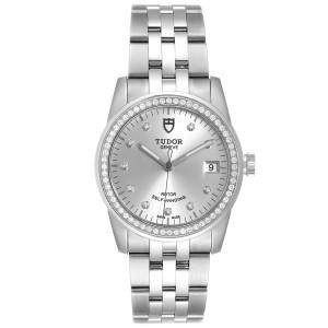 Tudor Glamour Date Silver Dial Diamond Steel Mens Watch M55020 Unworn