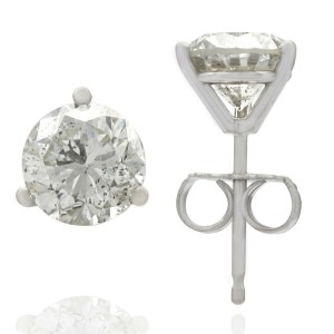 2.04CTW Diamond Martini Stud Earrings14KW