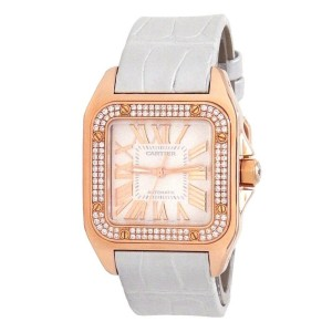 Cartier Santos 100 18k Rose Gold Diamond Bezel Automatic Ladies Watch WM50450M
