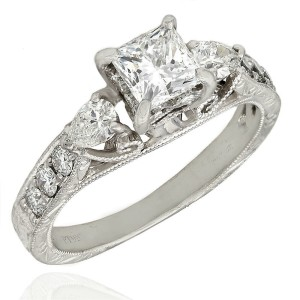 Platinum Multi-shape Diamond Ring with Princess Center Diamond