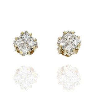 Princess Diamond Cluster Stud Earrings 18KY